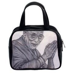 Dalai Lama Tenzin Gaytso Pencil Drawing Classic Handbags (2 Sides) by KentChua