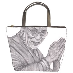 Dalai Lama Tenzin Gaytso Pencil Drawing Bucket Bags by KentChua