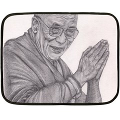 Dalai Lama Tenzin Gaytso Pencil Drawing Fleece Blanket (mini) by KentChua