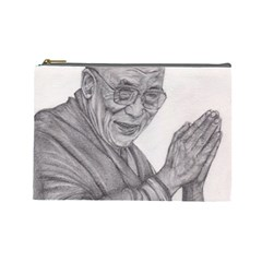 Dalai Lama Tenzin Gaytso Pencil Drawing Cosmetic Bag (large)  by KentChua