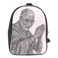 Dalai Lama Tenzin Gaytso Pencil Drawing School Bags(large)  by KentChua