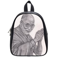 Dalai Lama Tenzin Gaytso Pencil Drawing School Bags (small)  by KentChua