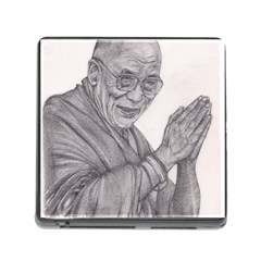 Dalai Lama Tenzin Gaytso Pencil Drawing Memory Card Reader (square) by KentChua