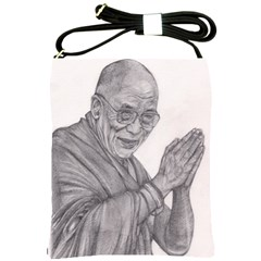 Dalai Lama Tenzin Gaytso Pencil Drawing Shoulder Sling Bags by KentChua