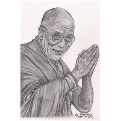 Dalai Lama Tenzin Gaytso Pencil Drawing 5 5  X 8 5  Notebooks by KentChua