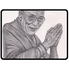 Dalai Lama Tenzin Gaytso Pencil Drawing Fleece Blanket (large)  by KentChua