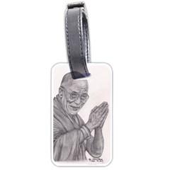 Dalai Lama Tenzin Gaytso Pencil Drawing Luggage Tags (one Side)  by KentChua