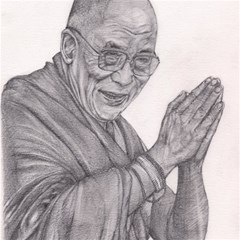 Dalai Lama Tenzin Gaytso Pencil Drawing Magic Photo Cubes by KentChua