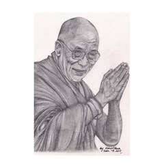 Dalai Lama Tenzin Gaytso Pencil Drawing Shower Curtain 48  X 72  (small)  by KentChua