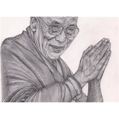 Dalai Lama Tenzin Gaytso Pencil Drawing Birthday Cake 3d Greeting Card (7x5)  by KentChua