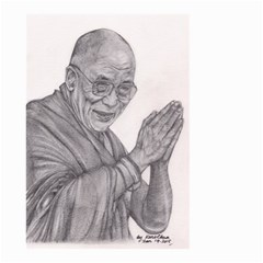 Dalai Lama Tenzin Gaytso Pencil Drawing Small Garden Flag (two Sides) by KentChua