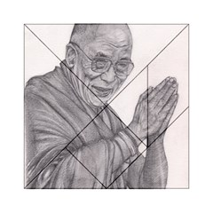 Dalai Lama Tenzin Gaytso Pencil Drawing Acrylic Tangram Puzzle (6  X 6 ) by KentChua