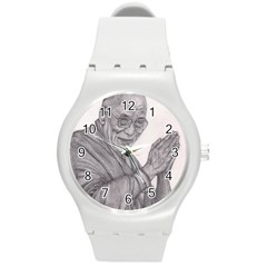 Dalai Lama Tenzin Gaytso Pencil Drawing Round Plastic Sport Watch (m) by KentChua