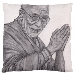Dalai Lama Tenzin Gaytso Pencil Drawing Large Cushion Cases (one Side)  by KentChua