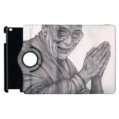Dalai Lama Tenzin Gaytso Pencil Drawing Apple Ipad 3/4 Flip 360 Case by KentChua