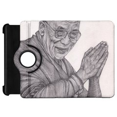 Dalai Lama Tenzin Gaytso Pencil Drawing Kindle Fire Hd Flip 360 Case by KentChua