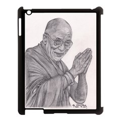 Dalai Lama Tenzin Gaytso Pencil Drawing Apple Ipad 3/4 Case (black) by KentChua