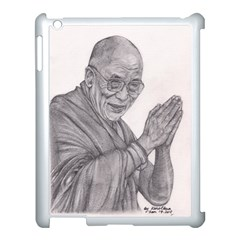 Dalai Lama Tenzin Gaytso Pencil Drawing Apple Ipad 3/4 Case (white) by KentChua