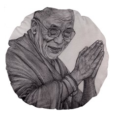 Dalai Lama Tenzin Gaytso Pencil Drawing Large 18  Premium Round Cushions by KentChua
