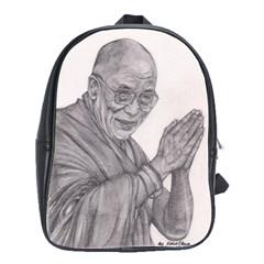 Dalai Lama Tenzin Gaytso Pencil Drawing School Bags (xl)  by KentChua