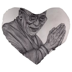 Dalai Lama Tenzin Gaytso Pencil Drawing Large 19  Premium Heart Shape Cushions by KentChua