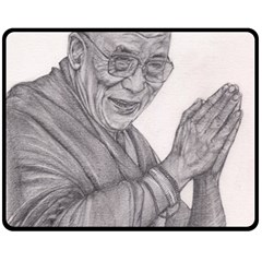 Dalai Lama Tenzin Gaytso Pencil Drawing Double Sided Fleece Blanket (medium)  by KentChua