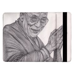 Dalai Lama Tenzin Gaytso Pencil Drawing Samsung Galaxy Tab Pro 12 2  Flip Case by KentChua