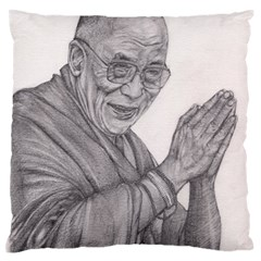Dalai Lama Tenzin Gaytso Pencil Drawing Standard Flano Cushion Cases (one Side)  by KentChua
