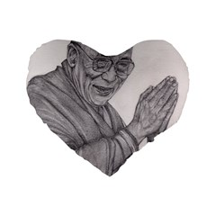 Dalai Lama Tenzin Gaytso Pencil Drawing Standard 16  Premium Flano Heart Shape Cushions by KentChua