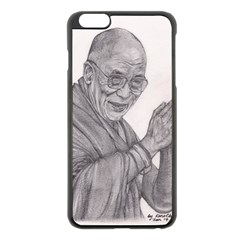 Dalai Lama Tenzin Gaytso Pencil Drawing Apple Iphone 6 Plus/6s Plus Black Enamel Case by KentChua