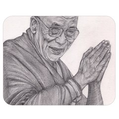 Dalai Lama Tenzin Gaytso Pencil Drawing Double Sided Flano Blanket (medium)  by KentChua