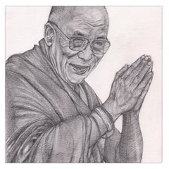 Dalai Lama Tenzin Gaytso Pencil Drawing Large Satin Scarf (square) by KentChua
