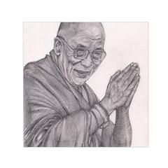 Dalai Lama Tenzin Gaytso Pencil Drawing Small Satin Scarf (square) by KentChua
