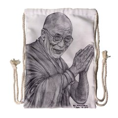Dalai Lama Tenzin Gaytso Pencil Drawing Drawstring Bag (large) by KentChua