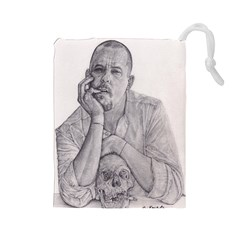 Alexander Mcqueen Pencil Drawing Drawstring Pouches (large)  by KentChua