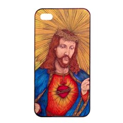 Sacred Heart Of Jesus Christ Drawing Apple Iphone 4/4s Seamless Case (black)