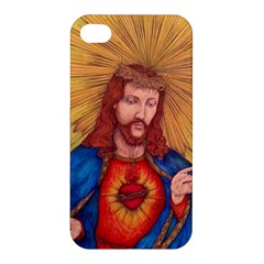 Sacred Heart Of Jesus Christ Drawing Apple Iphone 4/4s Premium Hardshell Case by KentChua