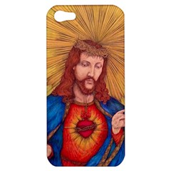 Sacred Heart Of Jesus Christ Drawing Apple Iphone 5 Hardshell Case by KentChua