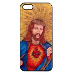 Sacred Heart Of Jesus Christ Drawing Apple Iphone 5 Seamless Case (black) by KentChua