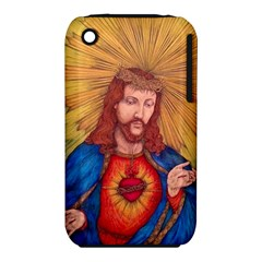 Sacred Heart Of Jesus Christ Drawing Apple Iphone 3g/3gs Hardshell Case (pc+silicone) by KentChua