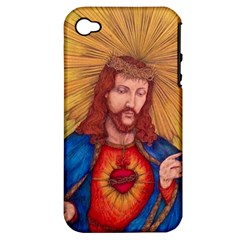 Sacred Heart Of Jesus Christ Drawing Apple Iphone 4/4s Hardshell Case (pc+silicone) by KentChua