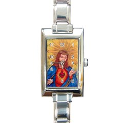Sacred Heart Of Jesus Christ Drawing Rectangle Italian Charm Watches by KentChua