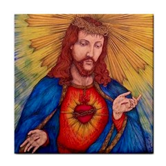 Sacred Heart Of Jesus Christ Drawing Tile Coasters by KentChua