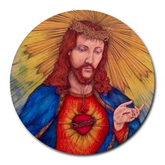 Sacred Heart Of Jesus Christ Drawing Round Mousepads by KentChua
