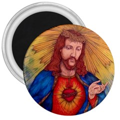 Sacred Heart Of Jesus Christ Drawing 3  Magnets by KentChua