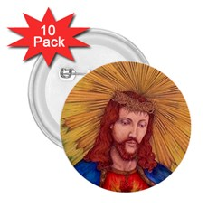 Sacred Heart Of Jesus Christ Drawing 2 25  Buttons (10 Pack)  by KentChua