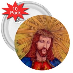 Sacred Heart Of Jesus Christ Drawing 3  Buttons (10 Pack)  by KentChua