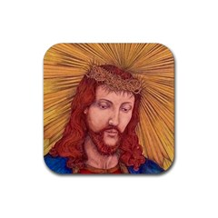 Sacred Heart Of Jesus Christ Drawing Rubber Square Coaster (4 Pack)  by KentChua