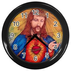 Sacred Heart Of Jesus Christ Drawing Wall Clocks (black) by KentChua