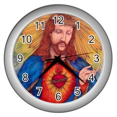 Sacred Heart Of Jesus Christ Drawing Wall Clocks (silver)  by KentChua